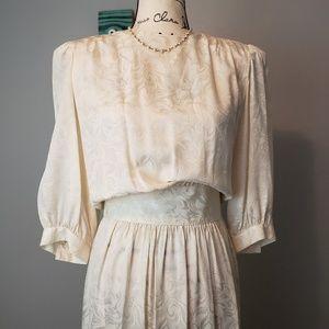 Vintage Ivory 100% Silk 3/4 Sleeve Dress sz 10